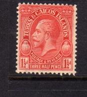 TURKS AND CAICOS 1928 KING GEORGE V RE GIORGIO 1 1/2p MNH - Turks E Caicos