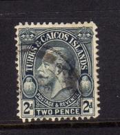 TURKS AND CAICOS 1928 KING GEORGE V RE GIORGIO 2p USATO USED OBLITERE' - Turks E Caicos