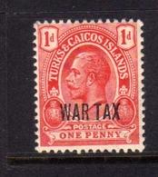 TURKS AND CAICOS 1917 WAR TAX STAMPS KING GEORGE V RE GIORGIO 1p MNH - Turks E Caicos