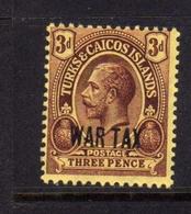 TURKS AND CAICOS 1917 WAR TAX STAMPS KING GEORGE V RE GIORGIO 3p MNH - Turks E Caicos