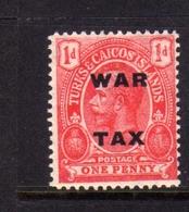 TURKS AND CAICOS 1918 WAR TAX STAMPS KING GEORGE V RE GIORGIO 1p MNH - Turks E Caicos