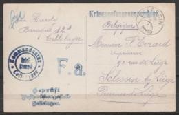"""Carte Photo De Prisonnier (franchise) """"Kriegsgefangenensendung"""" Pour Càd SCLESSIN /2 XI 1915 - Cachets Censure Allemande - Weltkrieg 1914-18"""