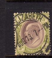 TRANSVAAL 1902 1903 KING EDWARD VII RE EDOARDO PENNY 3p USATO USED OBLITERE' - Sud Africa (...-1961)