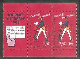 JOURNEE DU TIMBRE 1993. Y&T Paire Oblitérée N° P2793Aa ( 2793 + 2792 + Vignette ). Avec Marges Sup. Et Inf. - France