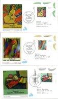 """BRD 3 Schmuck-FDC """"Deutsche Malerei Des 20. Jahrhunderts"""" Mi. 1843/45 ESSt 7.3,1996 BONN 1 - FDC: Covers"""