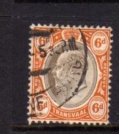 TRANSVAAL 1902 1903 KING EDWARD VII RE EDOARDO PENNY 6p USATO USED OBLITERE' - Sud Africa (...-1961)