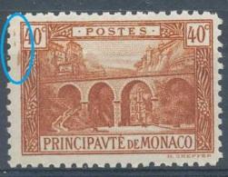 D - [801759]TB//**/Mnh-Monaco 1922-23, 40c Brun, Viaduc De Sainte Dévote, Curiosité: Taches Brunes En Marge Gauche, **/m - Errors And Oddities
