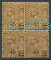 D - [801775]TB//**/Mnh-c:20e-Monaco 1924, N° 70-cu, 45c/50c Lilas-brun, En BD4, Curiosité: Manquements Dans Les Surcharg - Errors And Oddities