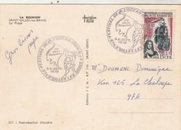 REUNION  Yvert  365 Cachet Illustré Festival Océan Indien St Gilles Les Bains 1970 Sur Carte Postale - Réunion (1852-1975)