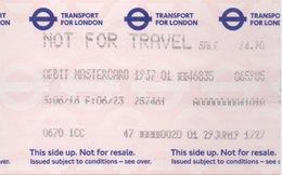 Transport For London : Not For Travel : Débit MasterCard - Titres De Transport
