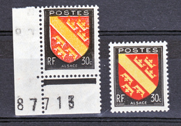 France  756 Variété Signatures Absentes Impression Décalée Et Normal  Alsace Neuf ** TB MNH Sin Charnela - Varieties: 1945-49 Mint/hinged