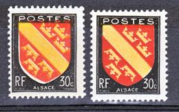 France  756 Variété Lettres Rouges Impression Décalée Et Normal  Alsace Neuf ** TB MNH Sin Charnela - Varieties: 1945-49 Mint/hinged