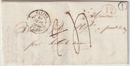 JUra T14 Salins, Boite Rurale I, DR Rouge, Taxe 2 Rectifiée 1844-> Pont De Vaux - 1801-1848: Vorläufer XIX