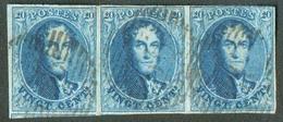Médaillons 20 Centimes Bleus En Bande De Trois Avec 1 Grand Voisin, Obl. Finement Apposée.  TB  - 14365 - 1858-1862 Medallions (9/12)