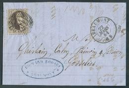 N°14 - Médaillon 10 Centimes Brun, Obl. P.14 S/L. De BEAUMONT Le 22 Mars 1864 Vers Gosselies. - Superbe - 14366 - 1863-1864 Medaillen (13/16)