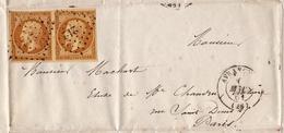 Lettre Avranches 1860 Manche Desruisseaux Notaire Paire Napoléon III 10 Centimes - 1853-1860 Napoléon III