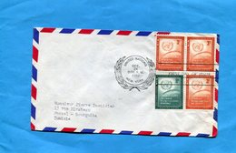 MARCOPHILIE-NATIONS UNIES-lettre >Françe-cad   New York1957-4 Stamps N°29+30 - New-York - Siège De L'ONU