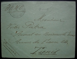 Maroc 1913 Casbah Ben Ahmed Poste Aux Armées Lettre Pour Tunis - Lettres & Documents