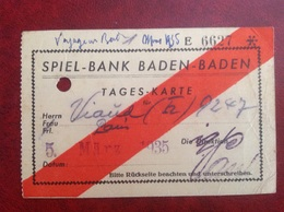 Spiel Bank Baden Baden  Viaud Consul De France 1935 - Chemins De Fer