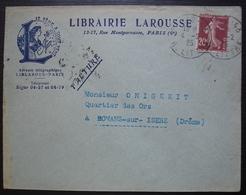 Librairie Larousse 1925 Lettre à En Tête, Oblitération Semeuse - Marcophilie (Lettres)