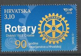 HR 2019-1360 90A°OF ROTARY IN CROATIA, HRVATSKA CROATIA, 1 X 1v, MNH - Croatie