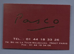 75 - RESTAURANT PASCO 75007 PARIS - CARTE DE VISITE - Visitenkarten