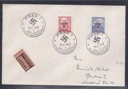 1942 PRAG PRAHA PRAGUE BÖHMEN UND MÄHREN BOHEME ET MORAVIE DREI JAHRE IM GROSSDEUTSCHEN REICH SS WWII EILBOTEN SPESNE - Lettres & Documents