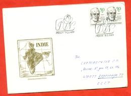 Czechoslovakia 1989. FDC. The Envelope Passed The Mail.D.Nehru. - Mahatma Gandhi