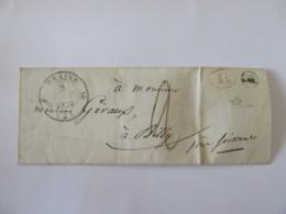 Lettre Braine (Aisne) Vers Billy Près Soissons - Cachet Type 12 Taxe 1 Décime Rouge Et Cachet OR (Origine Rurale) - 1838 - Marcophilie (Lettres)