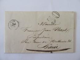 Lettre Laon Vers Paris - Préfecture De L'Aisne - Cachet Taxe 30 - 1855 - Marcofilia (sobres)