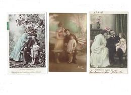Lot 3 Cpa - Fantaisie Famille Femme Homme Fillette Joies Conjugales Bonheur Plaisir Des Sages Emblème Félicité - Gruppen Von Kindern Und Familien