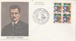 REUNION Yvert 346B Bloc De 4 Cachet Illustré Meeting Aérien 50 Ans Roland Garros La Possession 1968 Lettre Illustrée - Lettres & Documents