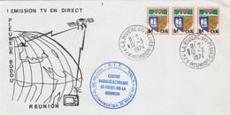 REUNION Yvert 346B Bande De 3 Cachet La Rivière Des Pluies 12/3/1974  Lettre Illustrée 1 émission TV En Direct - Storia Postale