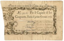 50 LIRE REGIE FINANZE TORINO REGNO DI SARDEGNA 01/01/1765 (25/02/1774) MB/BB - Altri