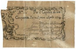 50 LIRE REGIE FINANZE TORINO REGNO DI SARDEGNA 01/04/1774 MB+ - Altri
