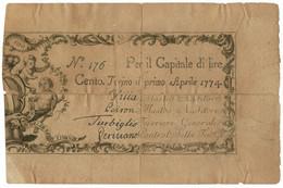 100 LIRE REGIE FINANZE TORINO REGNO DI SARDEGNA 01/04/1774 QBB - Italia