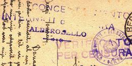 ITALIA - CAMPO CONCENTRAMENTO  INTERNATI ALBEROBELLO  BARI To SUSSA FIUME - CENZURA CAMP - 2.1. 1943.- RARE - 1900-44 Victor Emmanuel III