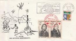 REUNION Yvert 363 X  2 + 346B Cachet Flamme Salon Artistes Indépendants St Denis 1964 Sur Lettre - Pli à Gauche - Covers & Documents