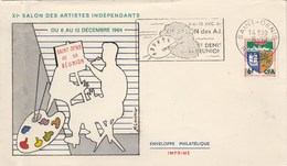 REUNION Yvert 346B Cachet Flamme Salon Artistes Indépendants St Denis 1964 Sur Lettre - Pli à Gauche - Storia Postale