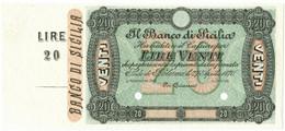 20 LIRE SPECIMEN - CON MATRICE BANCO DI SICILIA FEDE DI CREDITO 27/04/1870 FDS - Altri