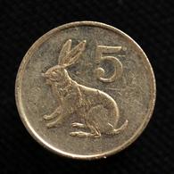 Zimbabwe 5 Cents. Km2. Africa Coin. EF. Animals (Fauna). Rabbits - Zimbabwe