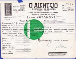 Invoice/ Facture, Portugal  1949, O ALENTEJO, Companhia De Seguros / Lisboa - Portugal