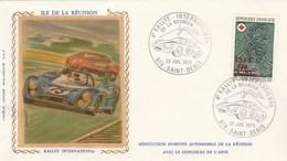 REUNION Yvert 412 Cachet Illustré Rallye International De La Réunion St Denis 22/7/1973 Sur Lettre Sur Soie - Automobile - Réunion (1852-1975)