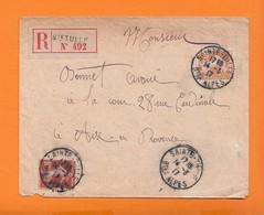 Lettre Rec  De  SAINTE TULLE Basses Alpes  Le 14 3 1917 Pour AIX En PROVENCE  Semeuse 30c Orange + 10c Rouge - 1906-38 Semeuse Con Cameo