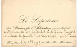 Visitekaartje - Carte Visite - La Supérieure Dames De L'Adoration Perpétuelle - Bruxelles 1913 - Cartes De Visite