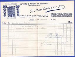 Invoice/ Facture, Portugal 1948 - J. Nunes Corrêa, Alfaiates / Lisboa - Portugal