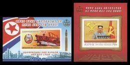 North Korea 2018 Mih. 6453B/54B (Bl.970B/71B) New Year Address (I). Kim Jong Un. Rockets. Trucks. Arms (imperf) MNH ** - Korea, North