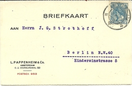 Firmcard Pappenhuizen & Co Amsterdam 3/10/1921 To Berlin - Periode 1891-1948 (Wilhelmina)