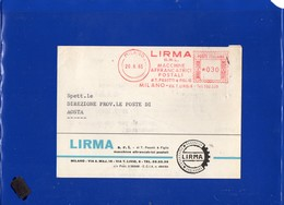 ##(DAN197)-Italia 1965-Cartolina Da  Milano Per Aosta,affrancatura Meter - EMA LIRMA Srl-Macchine Affrancatrici Postali - Affrancature Meccaniche Rosse (EMA)