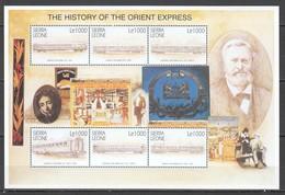 U922 SIERRA LEONE TRANSPORT TRAINS THE HISTORY OF THE ORIENT EXPRESS 1SH MNH - Treinen